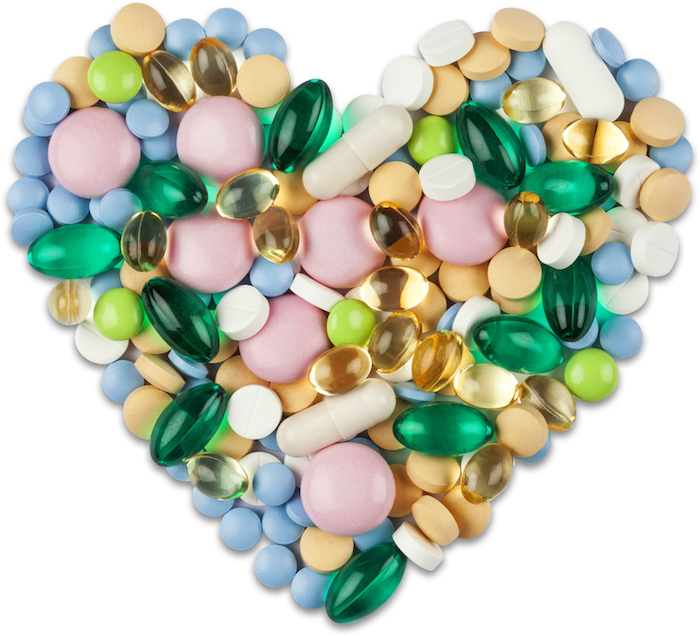 Heart shape formed by various medications